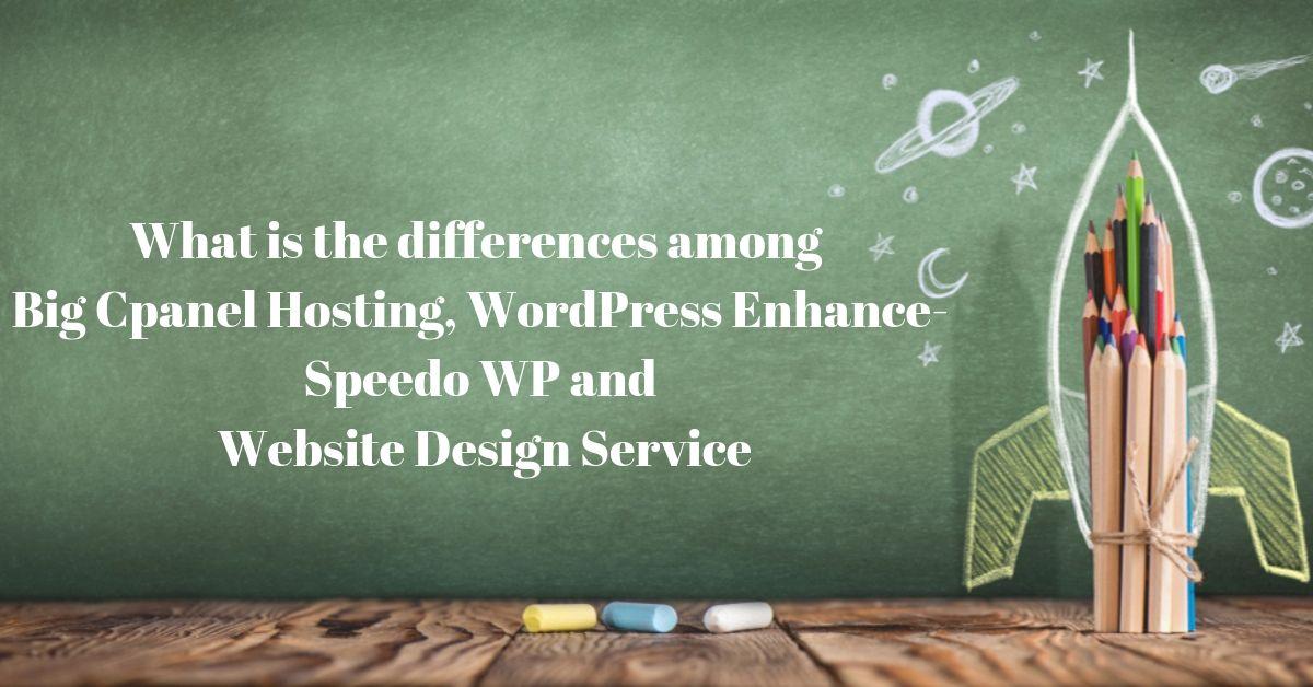 The differences among Big cPanel Hosting, WordPress Enhance-Speedo WP & Website Design Service