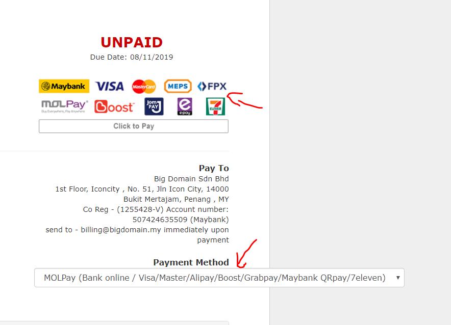 Added GrabPay, QRPay & Razer Payment Options to BigDomain 3