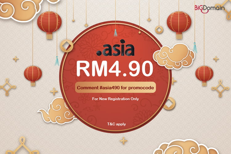 Get your .ASIA domain at RM4.90 only !!!