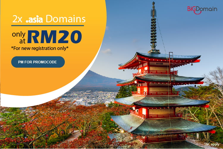 .ASIA domain mega sale at RM20 only
