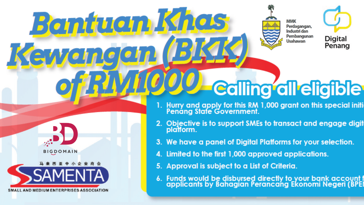 Penang BKK RM1000 SME Digital Transformation Grant
