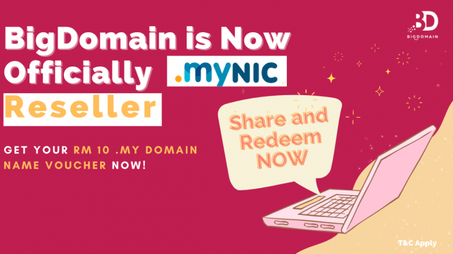 Get your .my Domain Name today! BigDomain becomes MYNIC's Official Reseller!